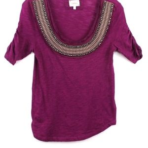 Anthropologie Tops - Anthropologie Deletta Tee Shirt Embellished Ruched